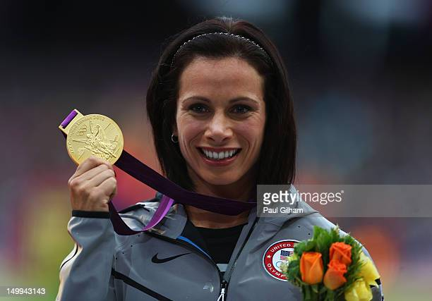 Gold medalist Jennifer Suhr of the United States poses on the podium during the medal ceremony for the Women's Pole Vault on Day 11 of the London...