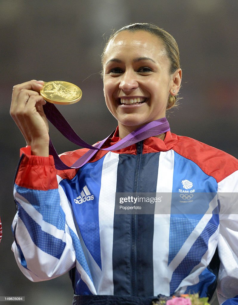 Gold medalist Jessica Ennis of Great Britain during the medal ceremony for Women's Heptathlon on Day 8 of the London 2012 Olympic Games at Olympic Stadium on August 4, 2012 in London, England.