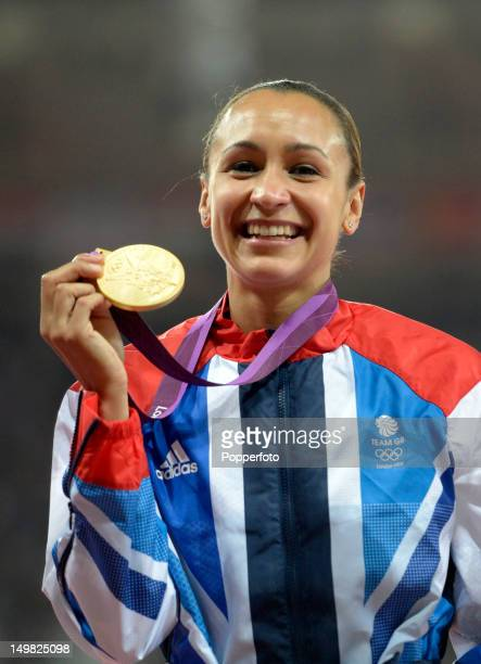 Gold medalist Jessica Ennis of Great Britain during the medal ceremony for Women's Heptathlon on Day 8 of the London 2012 Olympic Games at Olympic...