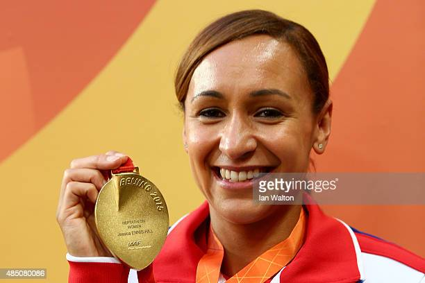 Gold medalist Jessica EnnisHill of Great Britain poses during the medal ceremony for the Women's Heptathlon during day three of the 15th IAAF World...