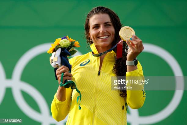 Gold medalist Jessica Fox of Team Australia celebrates during the medal ceremony following the Women's Canoe Slalom final on day six of the Tokyo...