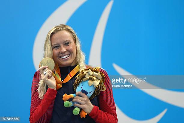 Gold medalist Jessica Long of the United States celebrates on the podium at the medal ceremony for Women's 200m Individual Medley SM8 on day 10 of...