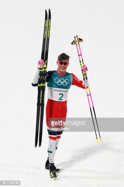 Gold medalist Johannes Hoesflot Klaebo of Norway celebrates during the Cross-Country Men's Sprint Classic Final on day four of the PyeongChang 2018...