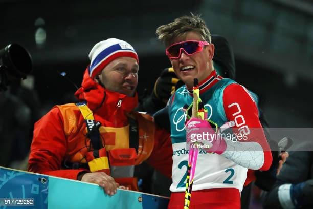 Gold medalist Johannes Hoesflot Klaebo of Norway celebrates during the CrossCountry Men's Sprint Classic Final on day four of the PyeongChang 2018...
