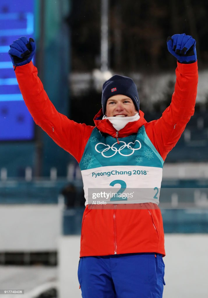Gold medalist Johannes Hoesflot Klaebo of Norway celebrates during the victory ceremony for the Cross-Country Men's Sprint Classic Final on day four of the PyeongChang 2018 Winter Olympic Games at Alpensia Cross-Country Centre on February 13, 2018 in Pyeongchang-gun, South Korea.