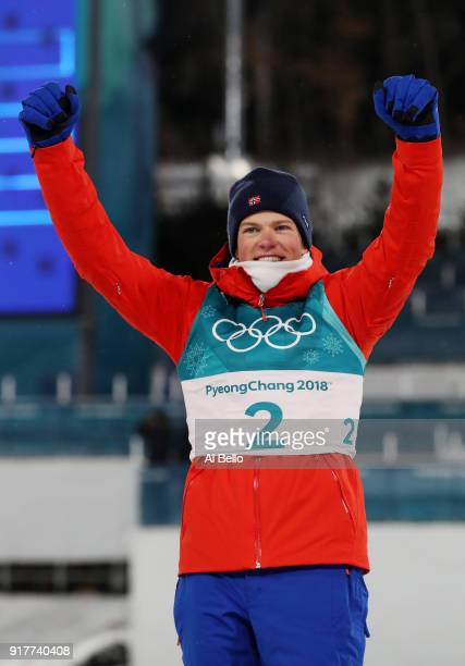 Gold medalist Johannes Hoesflot Klaebo of Norway celebrates during the victory ceremony for the Cross-Country Men's Sprint Classic Final on day four...