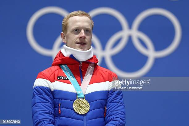 Gold medalist Johannes Thingnes Boe of Norway celebrates during the Medal Ceremony for Biathlon Men's 20km Individual on day seven of the PyeongChang...