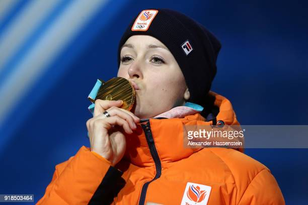 Gold medalist Jorien Ter Mors of the Netherlands celebrates during the medal ceremony for the Speed Skating Ladies' 1000m on day six of the...