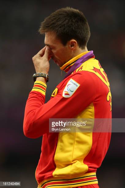 Gold medalist Jose Antonio Exposito Pineiro of Spain poses on the podium during the medal ceremony for the on day 6 of the London 2012 Paralympic...