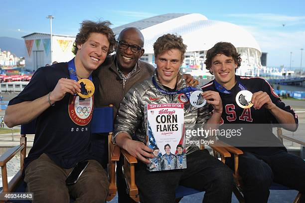 Gold medalist Joss Christensen of the United States Al Roker of the TODAY Show silver medalist Gus Kenworthy of the United States and bronze medalist...