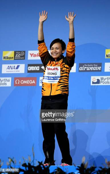 Gold medalist Jun Hoong Cheong of Malaysia celebrates during the medal ceremony Women's Diving 10m Platform final on day six of the Budapest 2017...