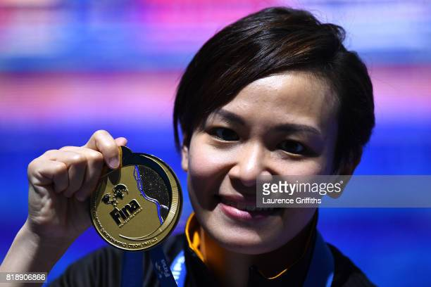 Gold medalist Jun Hoong Cheong of Malaysia poses with the medal won during the Women's Diving 10m Platform final on day six of the Budapest 2017 FINA...