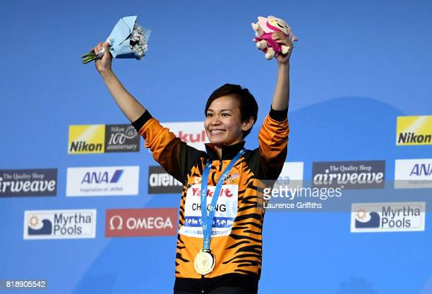 Gold medalist Jun Hoong Cheong of Malaysia poses with the medalwon during the Women's Diving 10m Platform final on day six of the Budapest 2017 FINA...