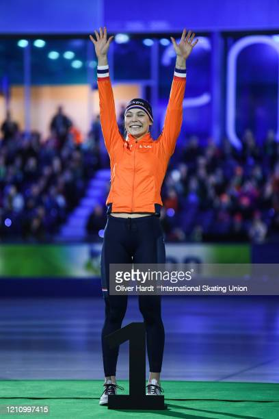 Gold medalist Jutta Leerdam of the Netherlands reacts during the medal ceremony for the Ladies 1000 meter final race during the ISU World Cup Speed...
