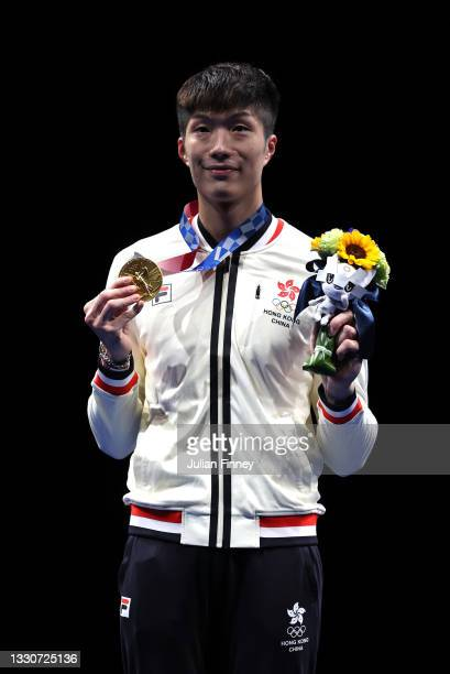 Gold medalist Ka Long Cheung of Team Hong Kong poses on the podium during the medal ceremony for Men's Foil Individual Fencing on day three of the...