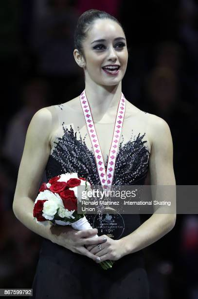 Gold medalist Kaetlyn Osmond of Canada during the victory ceremony for ladies free skating during the ISU Grand Prix of Figure Skating at Brandt...