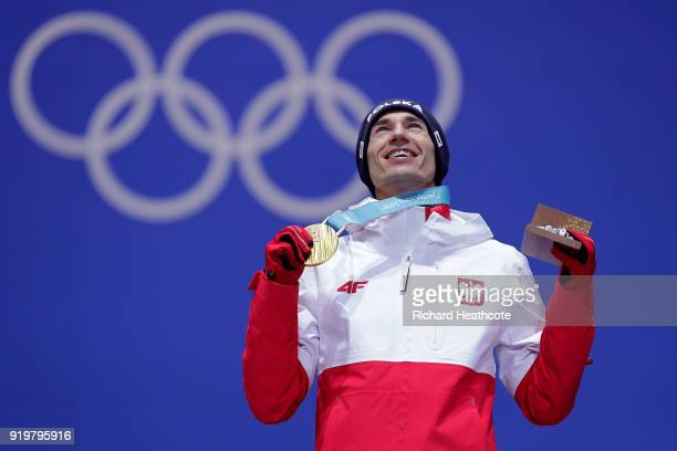 Gold medalist Kamil Stoch of Poland celebrates during the medal ceremony for the Ski Jumping Men's Large Hill on day nine of the PyeongChang 2018...