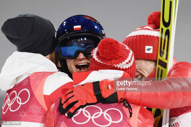 Gold medalist Kamil Stoch of Poland celebrates following the Ski Jumping Men's Large Hill on day eight of the PyeongChang 2018 Winter Olympic Games...