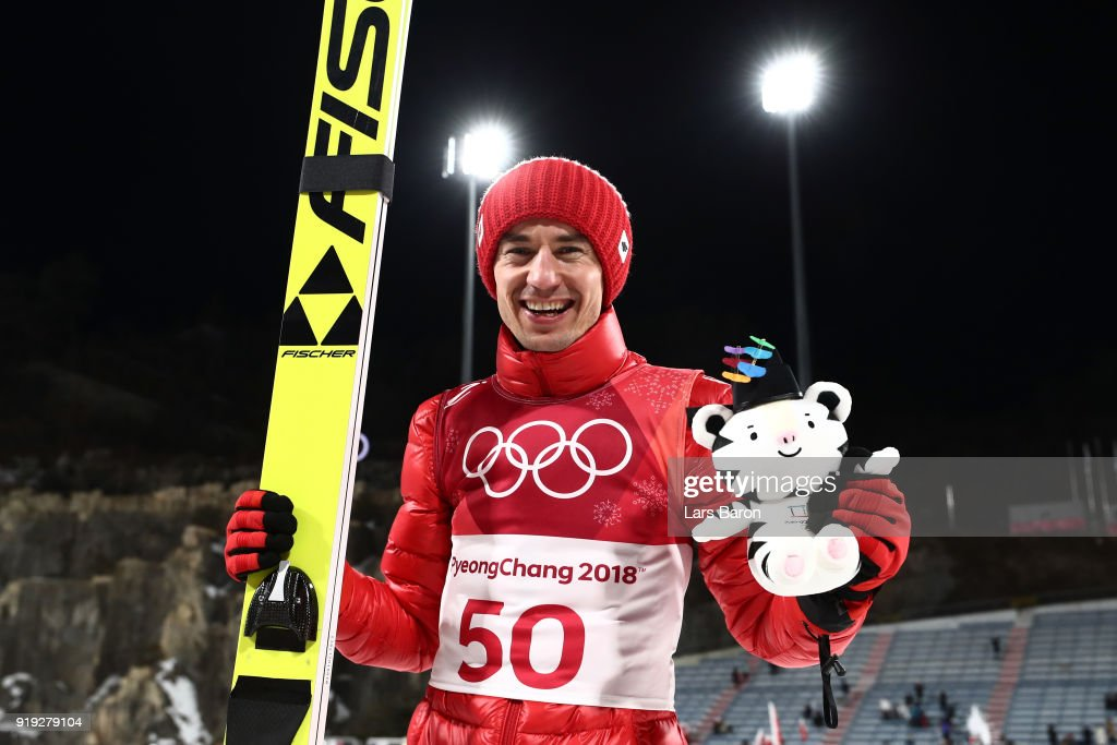Gold medalist, Kamil Stoch of Poland celebrates following the Ski Jumping - Men's Large Hill on day eight of the PyeongChang 2018 Winter Olympic Games at Alpensia Ski Jumping Center on February 17, 2018 in Pyeongchang-gun, South Korea.