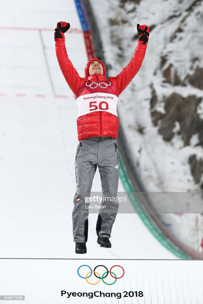 Gold medalist, Kamil Stoch of Poland celebrates on the podium following the Ski Jumping - Men's Large Hill on day eight of the PyeongChang 2018 Winter Olympic Games at Alpensia Ski Jumping Center on February 17, 2018 in Pyeongchang-gun, South Korea.