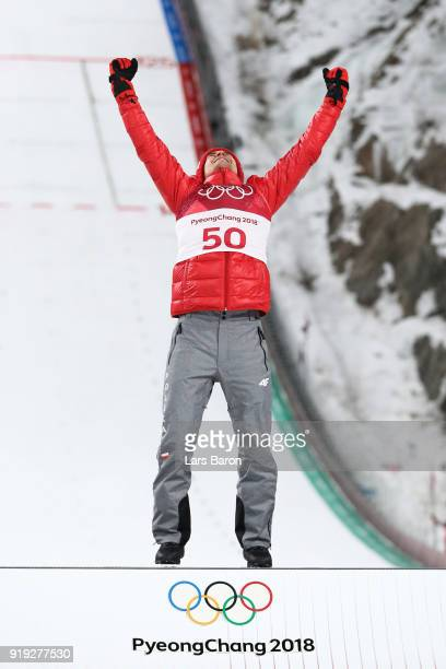 Gold medalist, Kamil Stoch of Poland celebrates on the podium following the Ski Jumping - Men's Large Hill on day eight of the PyeongChang 2018...