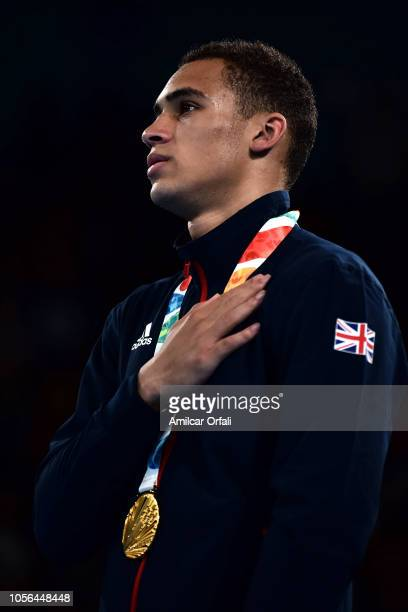 Gold medalist Karol Itauma of Great Britain in the podium of Ilia Popov during day 12 of Buenos Aires 2018 Youth Olympic Games at Oceania Pavilion in...