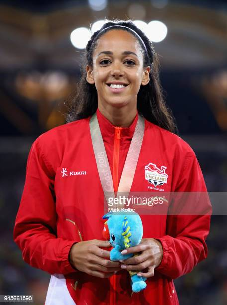 Gold medalist Katarina JohnsonThompson of England celebrates during the medal ceremony for the Women's Heptathlon during athletics on day nine of the...