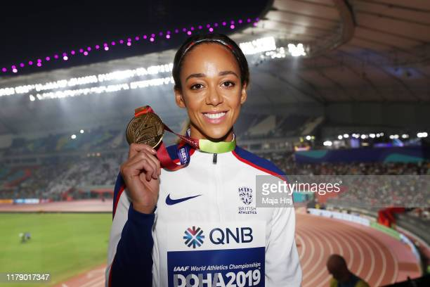 Gold medalist Katarina Johnson-Thompson of Great Britain stands on the podium during the medal ceremony for the Women's Heptathlon during day eight...