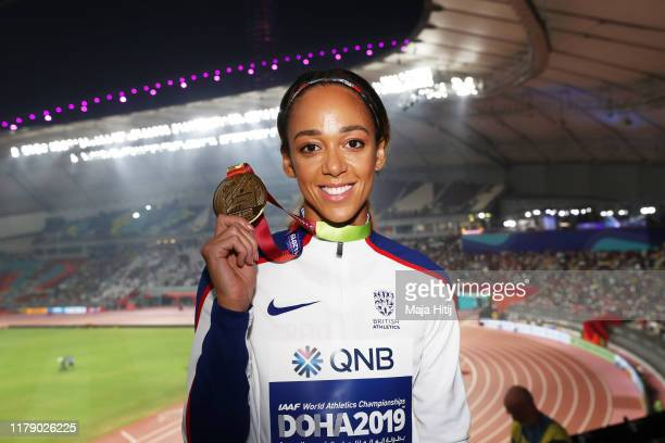 Gold medalist Katarina JohnsonThompson of Great Britain stands on the podium during the medal ceremony for the Women's Heptathlon during day eight of...