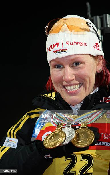 Gold medalist Kati Wilhelm of Germany poses after winning the Women's 15 km individual of the IBU Biathlon World Championships on February 18 2009 in...