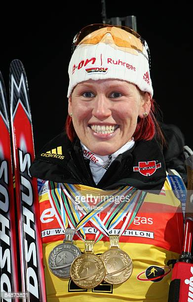 Gold medalist Kati Wilhelm of Germany poses after winning the Womens's 15 km individual of the IBU Biathlon World Championships on February 18 2009...