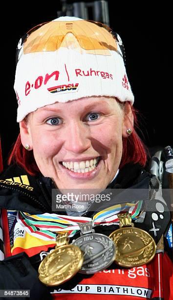 Gold medalist Kati Wilhelm of Germany smiles after winning the Womens's 15 km individual of the IBU Biathlon World Championships on February 18 2009...