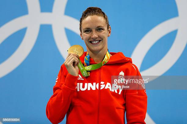 Gold medalist Katinka Hosszu of Hungary poses during the medal ceremony for the Final of the Women's 400m Individual Medley on Day 1 of the Rio 2016...