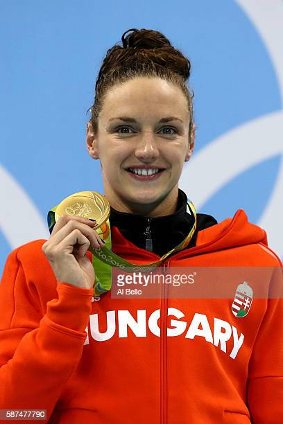 Gold medalist Katinka Hosszu of Hungary poses during the medal ceremony for the Women's 100m Backstroke Final on Day 3 of the Rio 2016 Olympic Games...