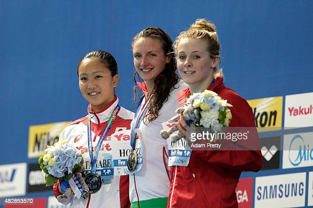 Gold medalist Katinka Hosszu of Hungary poses with silver medalist Kanako Watanabe of Japan and bronze medalist Siobhan-Marie O'Connor of Great...