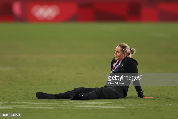 Gold medalist Kelly Brazier of Team New Zealand celebrates with her gold medal after the Women's Rugby Sevens Medal Ceremony on day eight of the...
