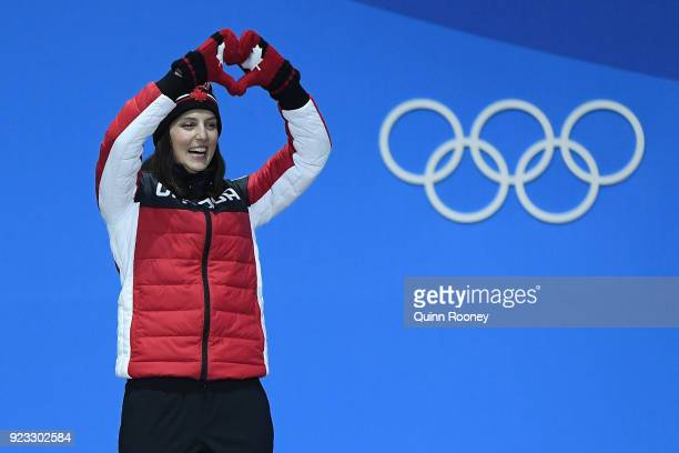 Gold medalist Kelsey Serwa of Canada celebrates during the medal ceremony for Freestyle Skiing - Ladies' Ski Cross on day 14 of the PyeongChang 2018...