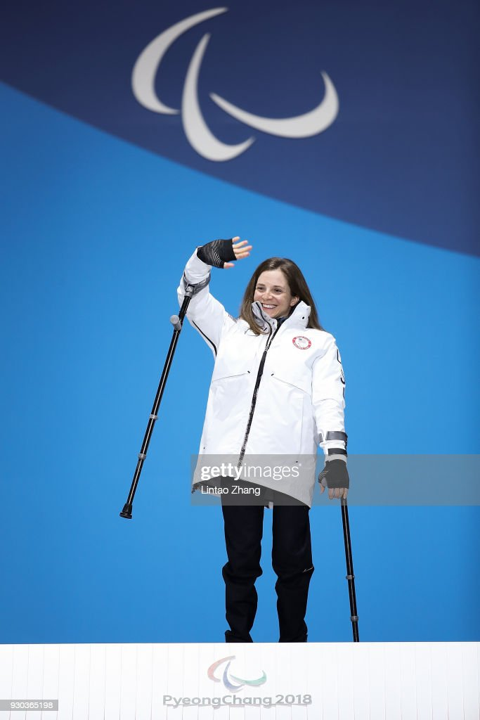 Gold Medalist Kendall Gretsch of the United States pose during the victory ceremony of Women's Cross Country 12km - Sitting event during day two of the PyeongChang 2018 Paralympic Games on March 11, 2018 in Pyeongchang-gun, South Korea.
