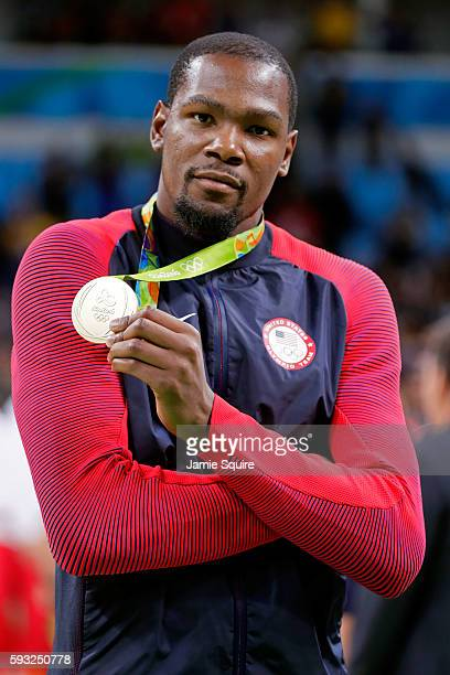 Gold medalist Kevin Durant of the United States celebrates after defeating Serbia during the Men's Gold medal game on Day 16 of the Rio 2016 Olympic...