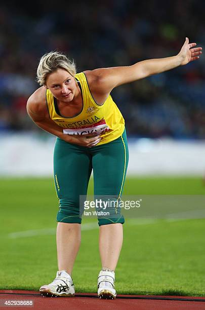 Gold medalist Kim Mickle of Australia celebrates after the Women's Javelin final at Hampden Park during day seven of the Glasgow 2014 Commonwealth...
