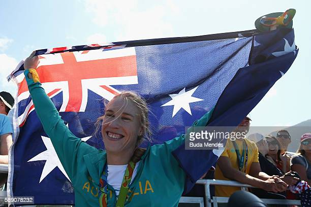 Gold medalist Kimberley Brennan of Australia celebrates after the medal ceremony for the Women's Single Sculls on Day 8 of the Rio 2016 Olympic Games...