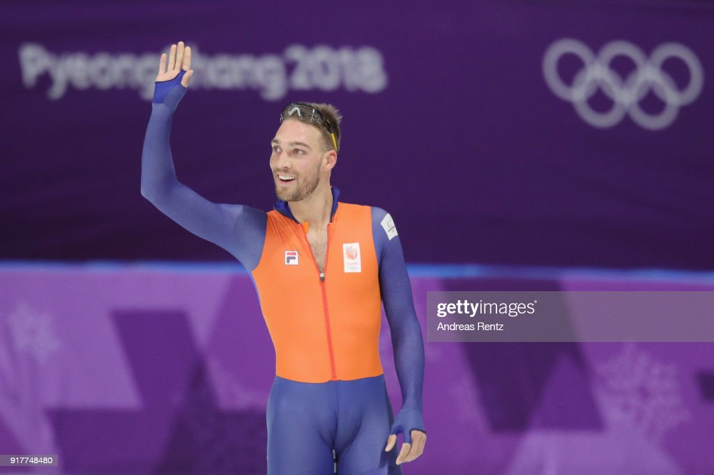 Gold medalist Kjeld Nuis of the Netherlands celebrates after his race during the Men's 1500m Speed Skating on day four of the PyeongChang 2018 Winter Olympic Games at Gangneung Oval on February 13, 2018 in Gangneung, South Korea.