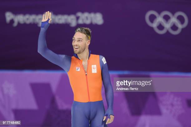 Gold medalist Kjeld Nuis of the Netherlands celebrates after his race during the Men's 1500m Speed Skating on day four of the PyeongChang 2018 Winter...