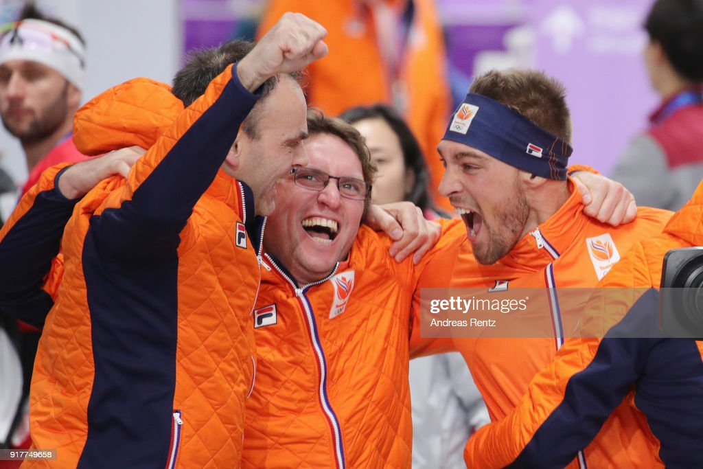 Gold medalist Kjeld Nuis (R) of the Netherlands celebrates after his race during the Men's 1500m Speed Skating on day four of the PyeongChang 2018 Winter Olympic Games at Gangneung Oval on February 13, 2018 in Gangneung, South Korea.
