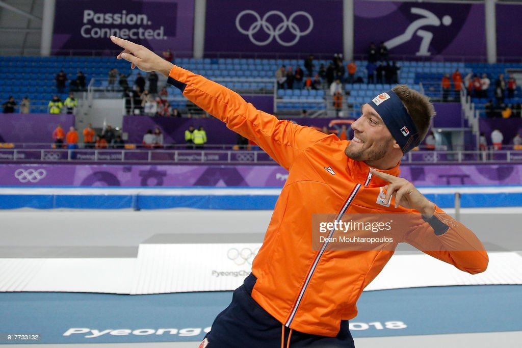 Gold medalist Kjeld Nuis of the Netherlands celebrates after the Men's 1500m Speed Skating on day four of the PyeongChang 2018 Winter Olympic Games at Gangneung Oval on February 13, 2018 in Gangneung, South Korea.