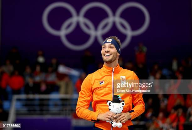 Gold medalist Kjeld Nuis of the Netherlands celebrates on the podium during the victory ceremony after the Men's 1500m Speed Skating on day four of...