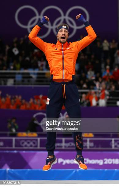 Gold medalist Kjeld Nuis of the Netherlands celebrates on the podium during the medal ceremony after the Men's 1000m on day 14 of the PyeongChang...