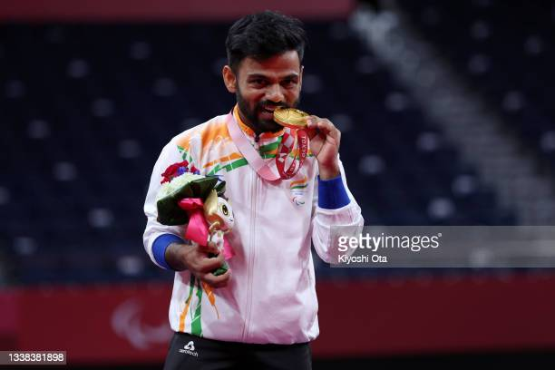 Gold medalist Krishna Nagar of Team India poses on the podium at the medal ceremony for the Badminton Men's Singles SH6 on day 12 of the Tokyo 2020...