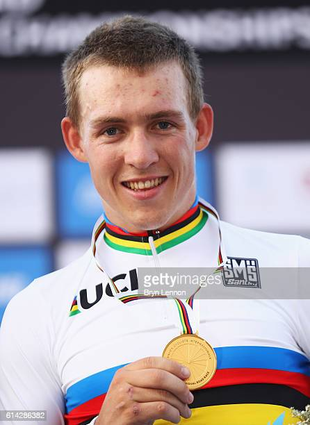 Gold medalist Kristoffer Halvorsen of Norway celebrates on the podium during the medal ceremony for the Men's Under 23 Road Race on Day Five of the...