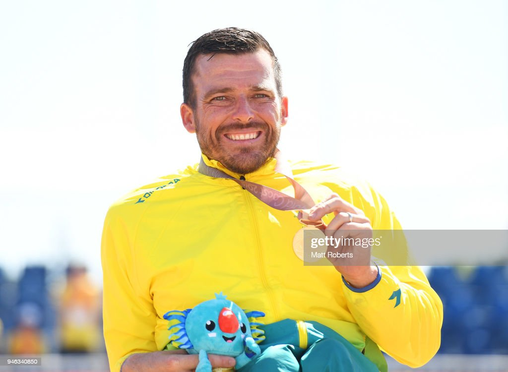 Gold medalist Kurt Fearnley of Australia celebrates during the medal ceremony for the Men's T54 marathon on day 11 of the Gold Coast 2018 Commonwealth Games at Southport Broadwater Parklands on April 15, 2018 on the Gold Coast, Australia.
